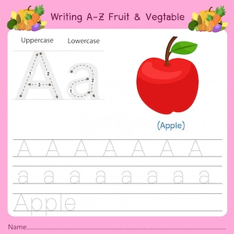 Scrittura az frutta e verdura a