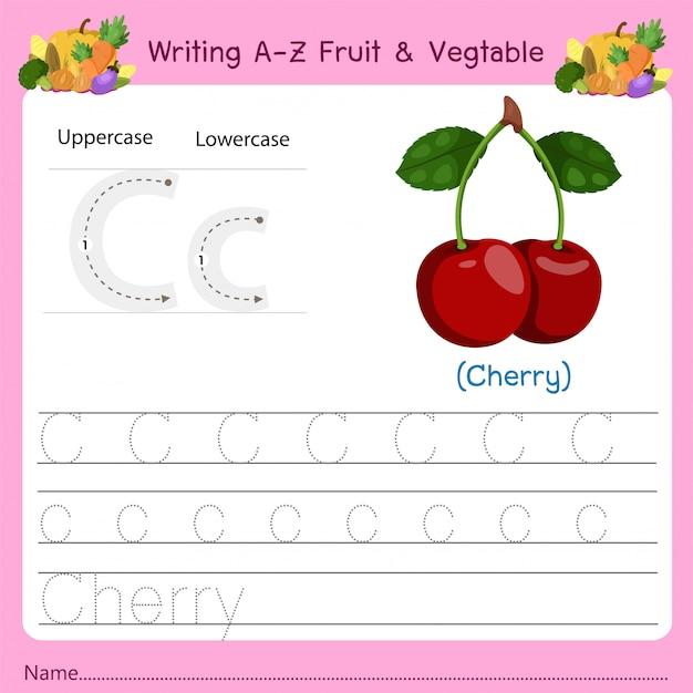 Scrittura az frutta e verdura c