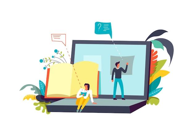 Scrittura dell'uomo di preparazione della presentazione sullo schermo del computer portatile