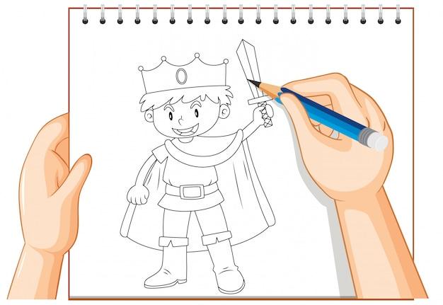 Scrittura della mano del contorno del ragazzo del cavaliere