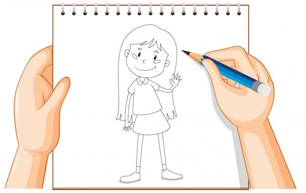 Scrittura della mano del contorno ragazza carina capelli lunghi