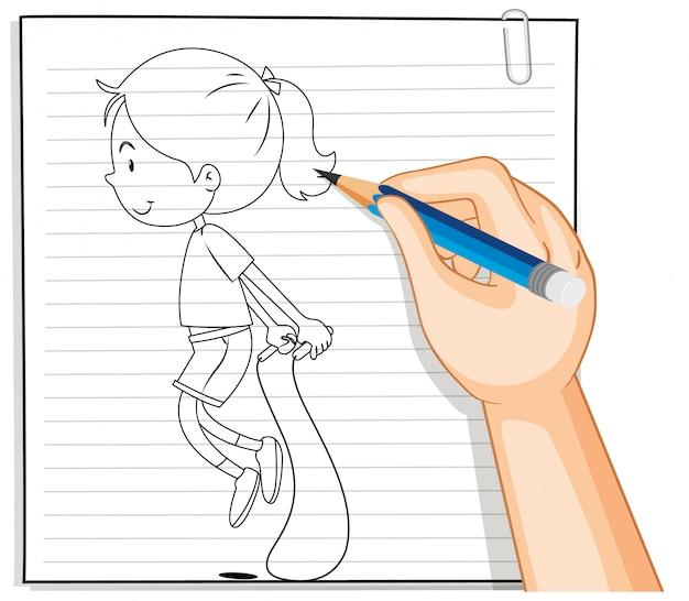Scrittura della mano del profilo della corda di salto della ragazza