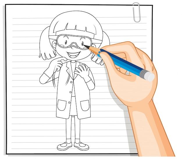 Scrittura della mano del profilo della ragazza del chimico