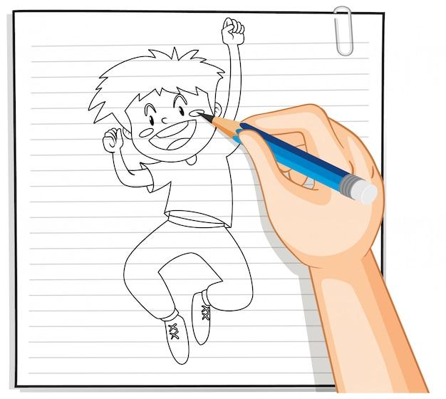 Scrittura della mano del profilo felice del giovane