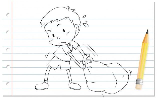 Scrittura della mano del ragazzo che tira il profilo della borsa