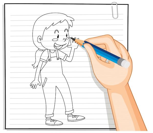 Scrittura della mano della ragazza con la posa di saluto