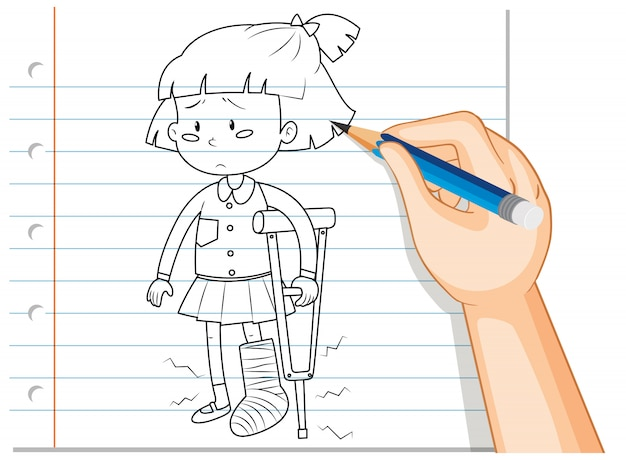 Scrittura della mano della ragazza usando il profilo della stampella