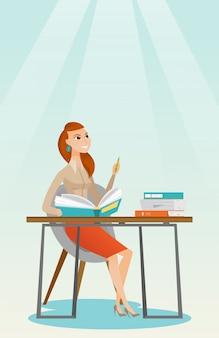 Scrittura dello studente all'illustrazione di vettore dello scrittorio.