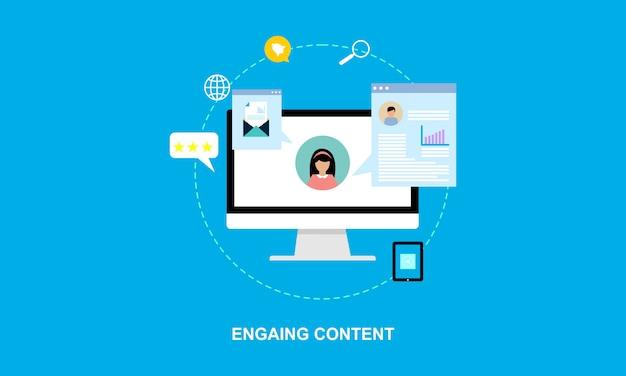 Scrittura di contenuti design piatto, illustrazione di blogging