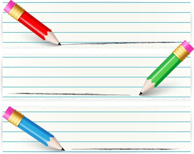 Scrittura di design di ritorno a scuola con carta e matita vuote