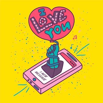 Scrittura romantica romantica sull'amore