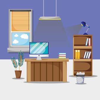 Scrivania con accessori piatti per ufficio da lavorare