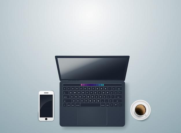 Scrivania con notebook e accessori vettoriale