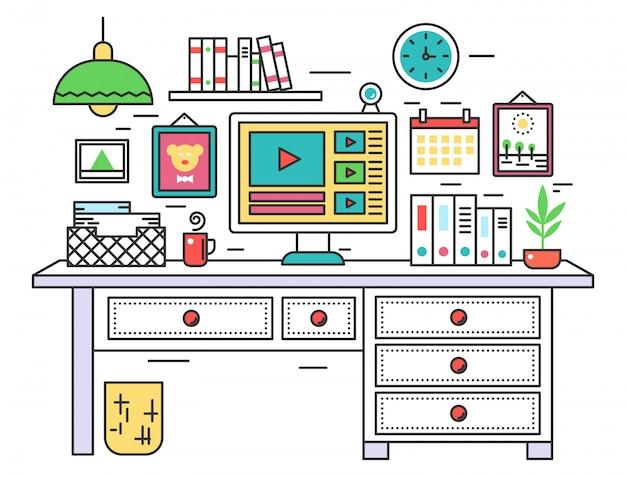 Scrivania da lavoro design linea piatta