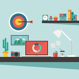 Scrivania e accessori sul concetto di design piatto