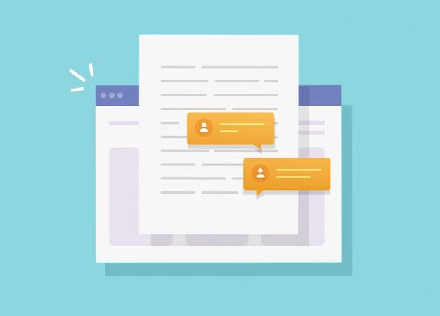 Scrivendo e collaborando chattando contenuto documento cartaceo online sul sito web o creando una lettera web di testo elettronico con la condivisione di discussione piatta illustrazione fumetto vettoriale