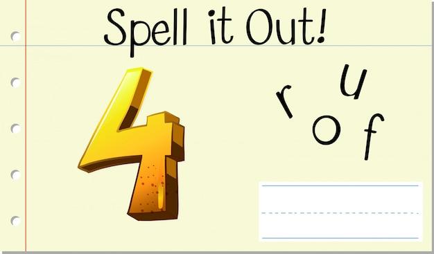 Scrivi la parola inglese quattro