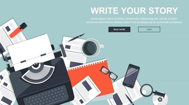 Scrivi la tua storia banner aziendale per giornalismo e blog