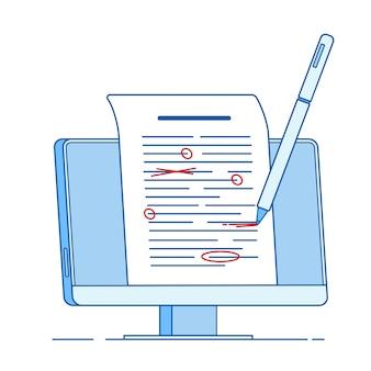 Scrivi modifica concetto di testo. scrittura di documenti di editing, corretta correzione di bozze di testo saggio linea concetto di servizi