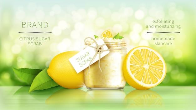 Scrub allo zucchero con limone, cosmetici per una pelle liscia, poster pubblicitario realistico