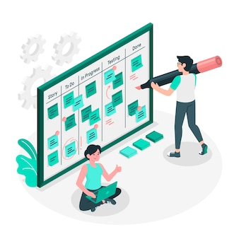 Scrum board concetto illustrazione