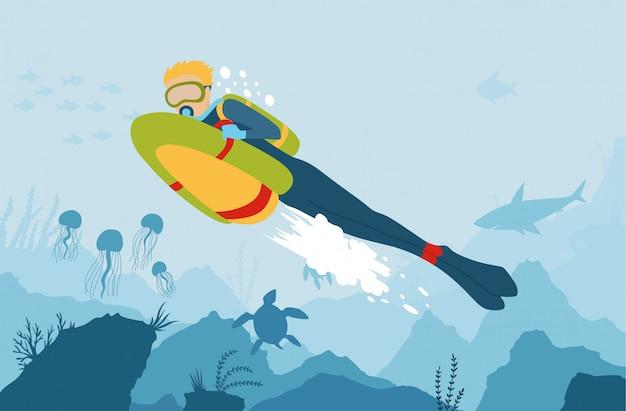 Scuba diver con bob di mare esplora il fondo del mare.
