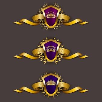 Scudi d'oro con corona di alloro