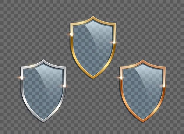 Scudi di vetro con cornici dorate, argento e bronzo isolate
