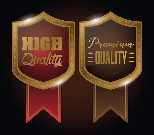 Scudi distintivi emblemi d'oro con nastri