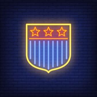 Scudo con bandiera degli stati uniti su sfondo di mattoni. illustrazione di stile al neon