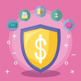 Scudo con economia e finanziaria con set di icone