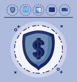 Scudo con set di icone economia finanza