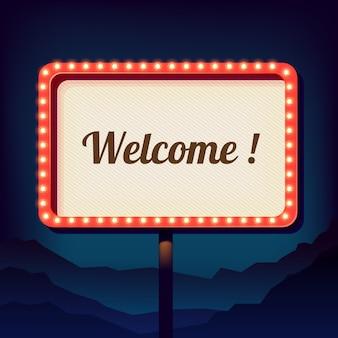 Scudo d'epoca con una scritta di benvenuto. il retro 3d promozionale cede firmando un documento la città. segno di notte
