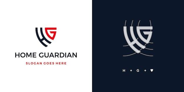 Scudo del guardiano di casa o lettera h + g logo assicurazione scudo