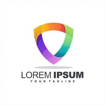 Scudo design del logo a colori sfumati