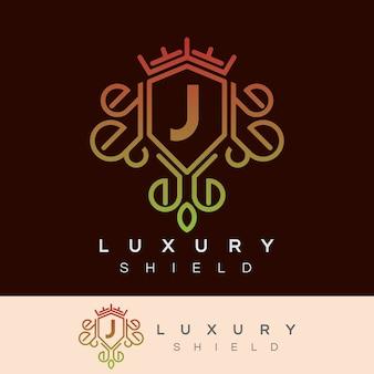 Scudo di lusso iniziale lettera j logo design