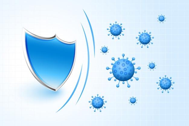 Scudo di protezione coronavirus covid-19 che impedisce al virus di entrare