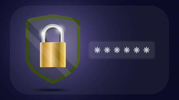 Scudo di protezione dei dati online e astratto con tecnologia informatica