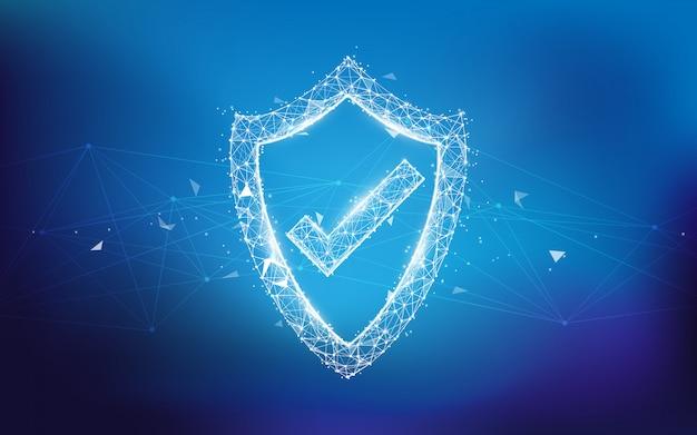 Scudo di protezione e concetto di protezione della rete da linee, triangoli e design in stile particellare. illustrazione vettoriale