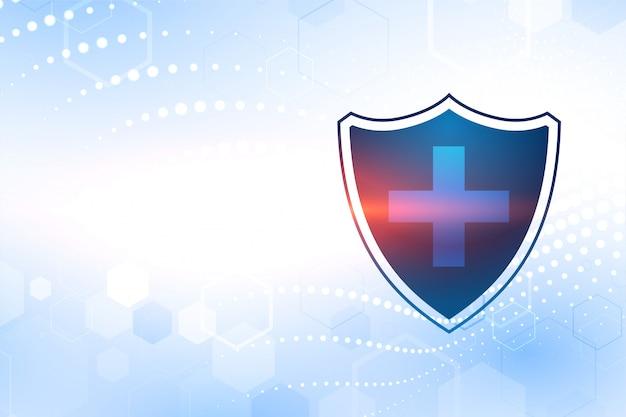 Scudo di protezione medica con croce simbolo e spazio testo