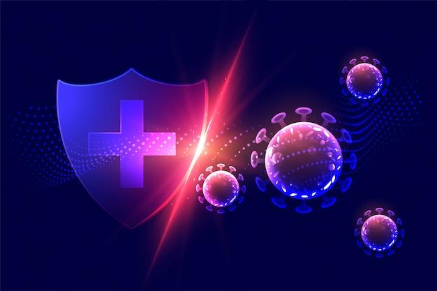 Scudo di protezione sanitaria che distrugge il concetto di virus corona