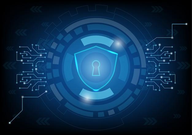 Scudo e buco della serratura sullo sfondo della tecnologia