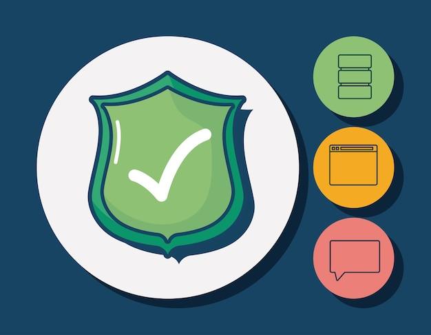 Scudo e cyber sicurezza relative icone intorno cerchi e sfondo blu