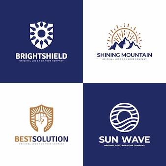 Scudo, montagna, sole, mano forte, collezione di design del logo wave.
