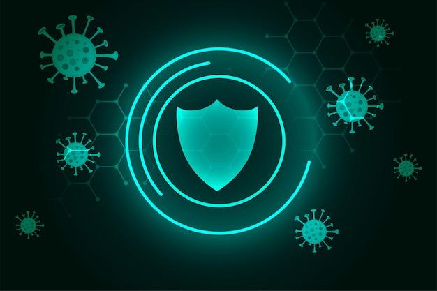 Scudo protettivo coronavirus che protegge dallo sfondo del virus