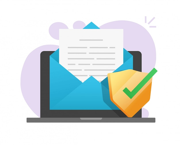 Scudo sicuro del documento di posta elettronica in linea sull'icona del computer portatile sulla posta elettronica