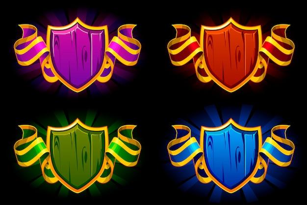 Scudo vuoto con nastro a colori. premi per le risorse di gioco dell'interfaccia utente