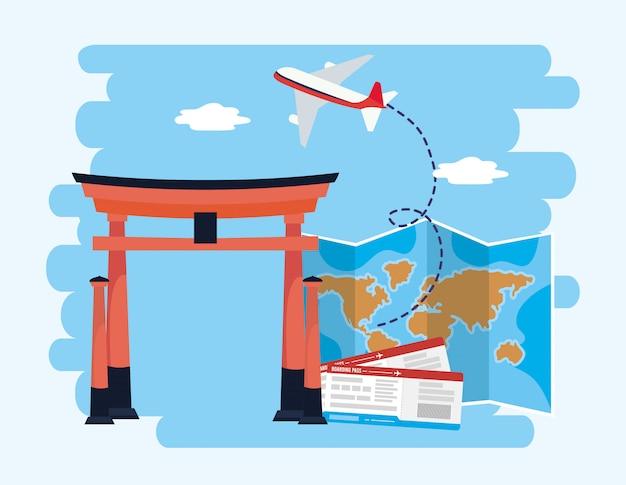 Scultura di tokyo con mappa globale e biglietti per l'aereo