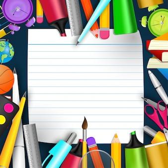 Scuola cancelleria e vuoto notebook di carta, torna a scuola concetto
