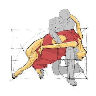 Scuola di ballo espressione posa. coppia danzante abbozzata. illustrazione vettoriale.
